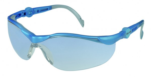 Schutzbrille PANORAMA blau, klare Scheibe, Bügel verstellbar in Länge und Neigung